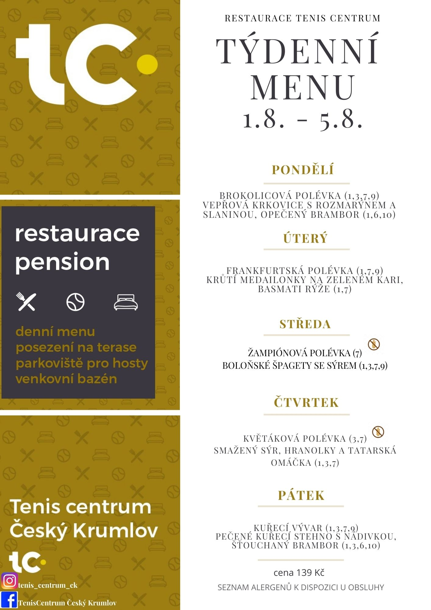 Týdenní menu Restaurace TenisCentrum