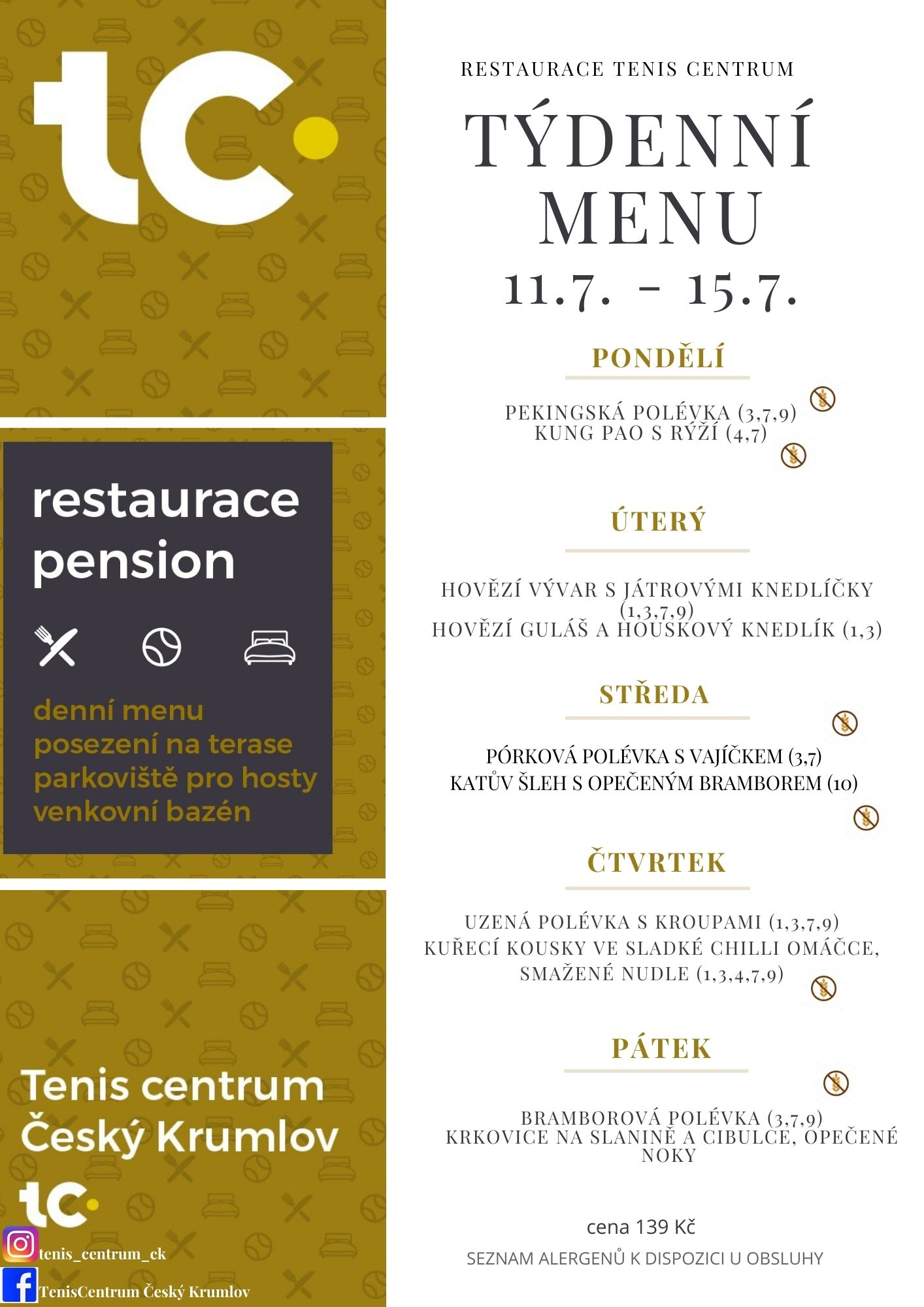 Týdenní menu Restaurace TenisCentrum