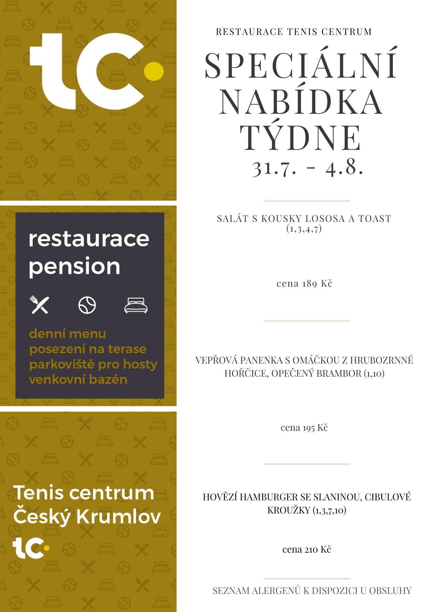 Speciální nabídka Restaurace TenisCentrum